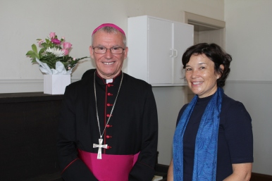 Archbishop Costelloe & parish secretary Marisa